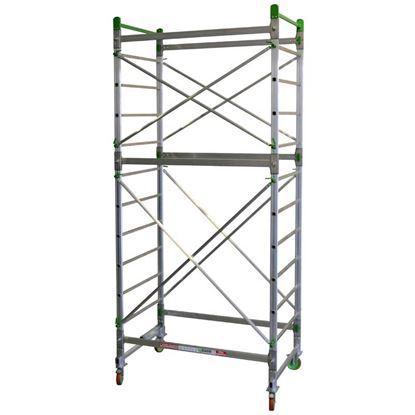 Immagine di Trabattello Facal, Doge 65, in alluminio, struttura 3,50 mt, altezza lavoro 4,30 mt, montanti 25x65 mm, gradini 30x30 mm
