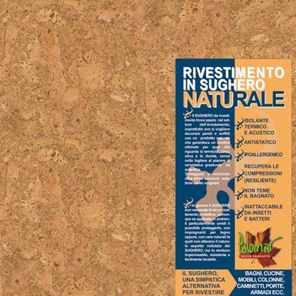 Immagine di Rivestimento in sughero, lastra 30x30 cm, spess.2 mm, aspetto granulare con venatura in fibra, conf.11 pezzi
