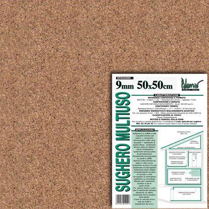 Immagine di Isolante in sughero agglomerato naturale, 50x50x±0,8 cm, densità 200 kg/m³, confezione 4 lastre da 1 m²