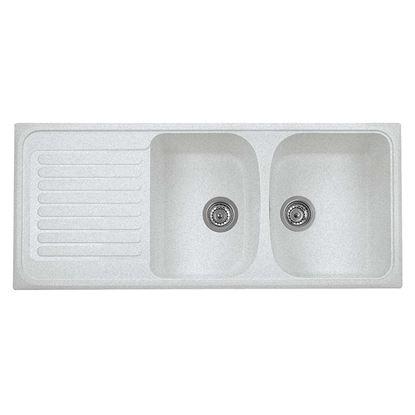 Immagine di Lavello Harmony, 2 vasche, c/gocciolatoio, revers., materiale composito microUltragranit, 116x50 cm, col.bianco opale