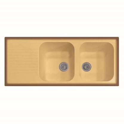 Immagine di Lavello Atlantic, 2 vasche, c/gocciolatoio, revers., materiale composito Ultraquartz, 116x50 cm, col.terra di francia