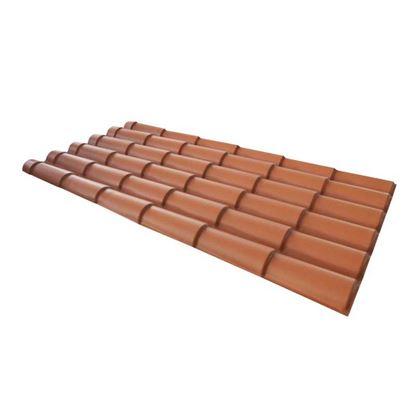 Immagine di Lastra Tecno Imac, per copertura, forma di coppo, 209x99 cm, terracotta