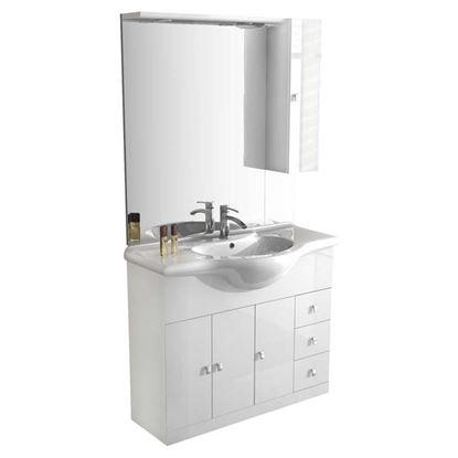 Immagine di Mobile Eco, 3 ante, 3 cassetti, colore bianco, 105 cm