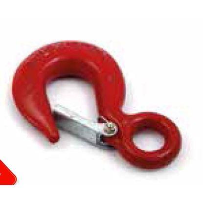 Immagine di Gancio forgiato, colore rosso, in carbonio, senza sicura, carico di rottura 500 kg