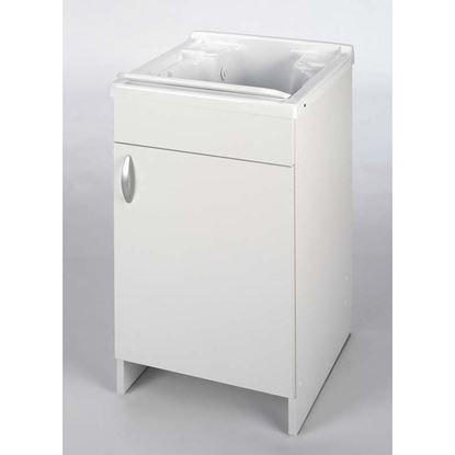 Immagine di Mobile lavapanni, asse in plastica, kit sifone, struttura in nobilitato, cerniera in ferro, piedino regolabile, 45x50 cm