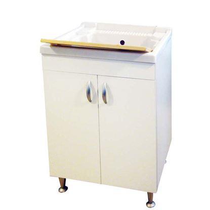 Immagine di Mobile lavapanni, asse in plastica, kit sifone, struttura in nobilitato, cerniera in ferro, 60x50 cm
