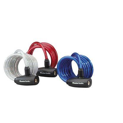 Immagine di Cavo in acciaio, con serratura, Ø mm 8x180 cm, 6 chiavi, chiave unificata, colori blu, rosso e trasparente, 3 pezzi