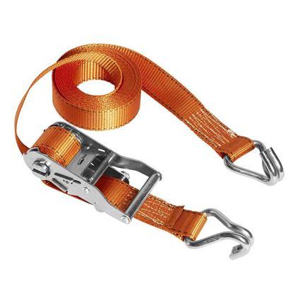 Immagine di Cinghia con cricchetto, Fast Link™, con gancio a J, colore arancio, mm 35x4,5 mt, resistenza 600 kg