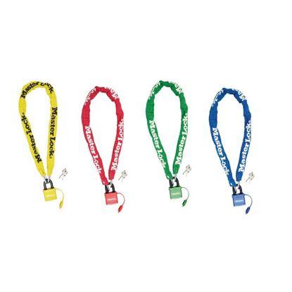 Immagine di Catena acciaio, cm 90 x Ø 6 mm, lucchetto 40 mm, 2 chiavi, guaina nylon, colori: 2 blu, 2 rossi, 1 verde, 1 giallo