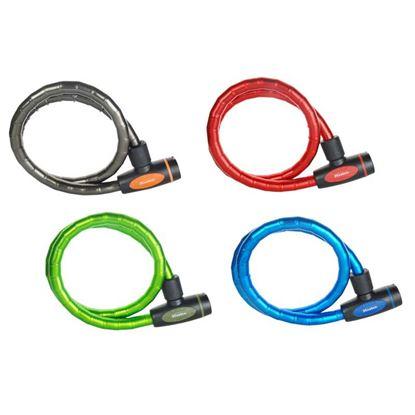 Immagine di Cavo in acciaio intrecciato, serrature integrata, Ø mm 18x100 cm, con 4 chiavi, rivestimento vinile, colori assortiti