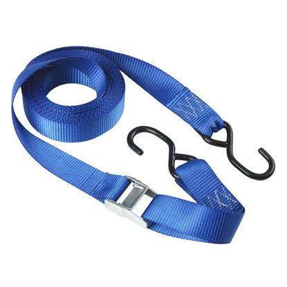 Immagine di Cinghia con fibbia autobloccante, Master® Eco, con ganci ad S, colore blu, mm 35x5 mt, resistenza 250 kg