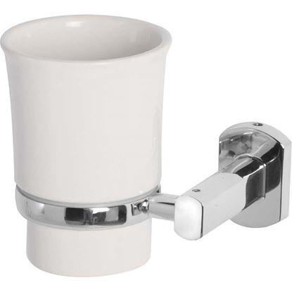 Immagine di Porta spazzolini, Deluxe, cromo e ceramica, piastrine in acciaio antiruggine