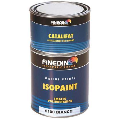 Immagine di Finitura brillante Finedin, Isopaint 75/25, poliuretanica bicomponente, elevata qualità e durezza, 0,75 lt, bianco