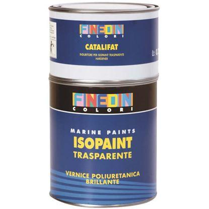 Immagine di Finitura brillante Finedin, Isopaint 70/30, poliuretanica bicomponente, elevata qualità e durezza, 0,75 lt, trasparente