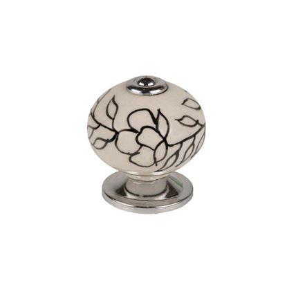Immagine di Pomolo porcellana fiori, base zama, 40 mm