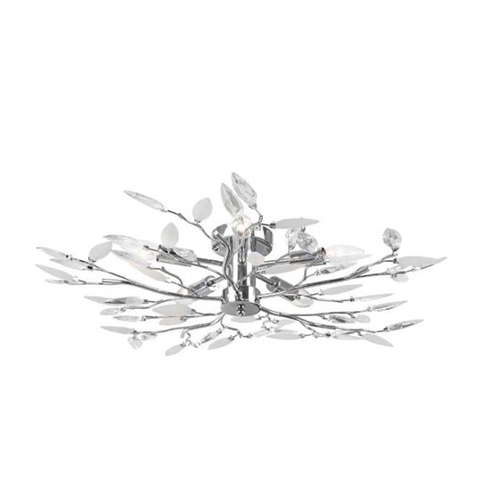 Immagine di Plafoniera Vida, E14-5x40 W, cromo, decori in acrilico trasparente e satinato