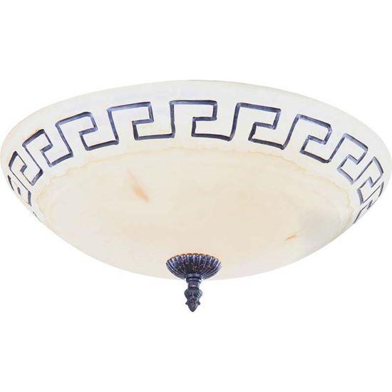 Immagine di Plafoniera Rustica, E27-2x60 W, metallo anticato, vetro alabastro con greca, Ø 40 cm