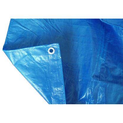 Immagine di Telo occhiellato, multiuso in polietilene, robusto e impermeabile, bordo rinforzato, colore blu, 90 gr/m², 4x4 mt