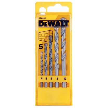 Immagine di Serie punte DeWalt, per muro e calcestruzzo, 5 pezzi, in astuccio di plastica, Ø 4/5/6/8/10 mm