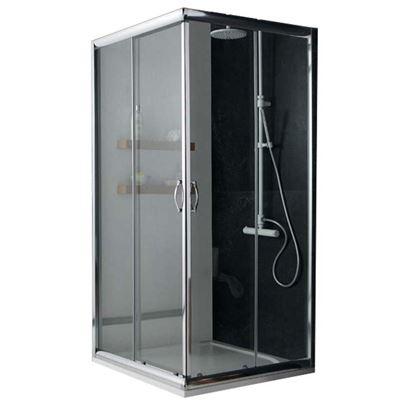 Immagine di Box doccia Giada, profilo alluminio anodizzato cromo lucido, cristallo 6 mm trasparente, 70x70xh185 cm