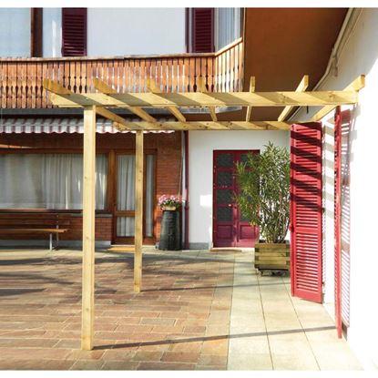 Immagine di Pergola Basic, struttura addossata, in pino impregnato, travetti 35x115 mm, montanti 90x90 mm, 3x3xh2,5 mt