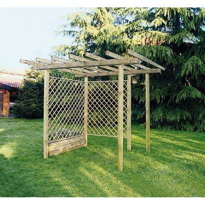 Immagine di Pergola Basic, libera, struttura autoportante, in pino impregnato, travetti 35x115 mm, montanti 90x90 mm, 3x3xh2,5 mt