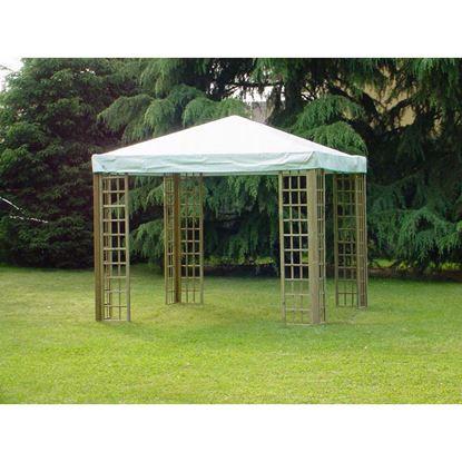 Immagine di Gazebo Basic, con 8 griglie da 60x218 cm, struttura pino impregnato, con telo in PVC, montanti 70x70 mm, 3x3 mt