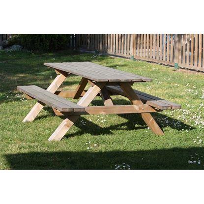 Immagine di Tavolo pic nic Basic, tavolo e panche in pino impregnato, 180x150xh72 cm