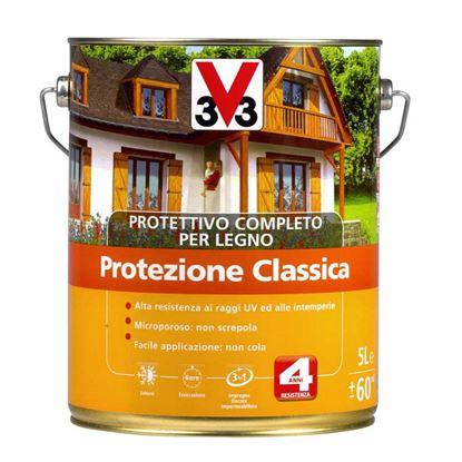 Immagine di Protettivo V33, x legno, protezione classica, impregna, colora e protegge il legno da agenti atmosf., 5 lt, noce chiaro