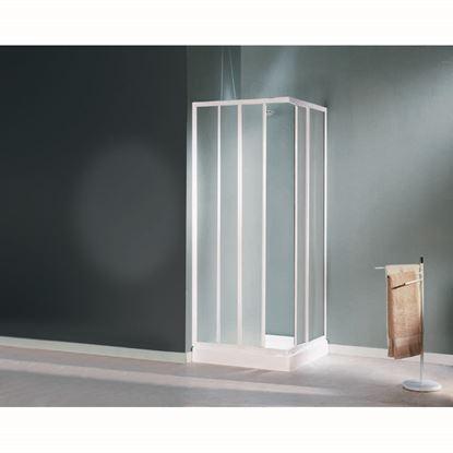 Immagine di Box doccia Mediterraneo, profilo bianco, acrilico, 70/80 cm