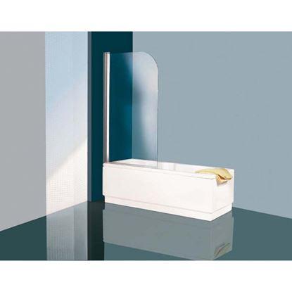 Immagine di Lato fisso Cayman, profilo bianco, cristallo trasparente, 75 cm