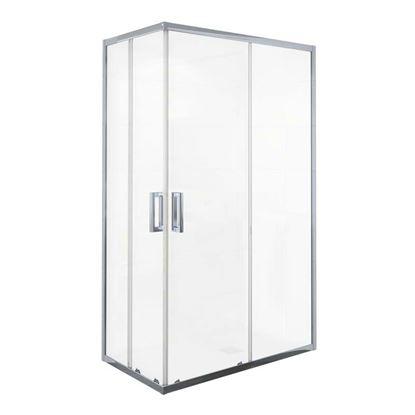 Immagine di Box doccia Manhattan, profilo alluminio cromato, cristallo temperato 6 mm, 100x80xh200 cm