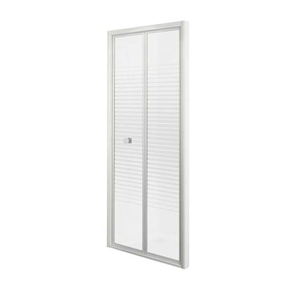 Immagine di Porta doccia Gala, pieghevole, profilo alluminio bianco, cristallo temperato 4 mm, con serigrafia, 70xh185 cm