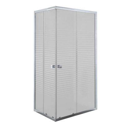 Immagine di Box doccia Umbra, profilo alluminio bianco, cristallo temperato 5 mm, con serigrafia, 80x80xh190 cm