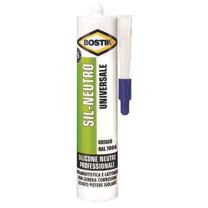 Immagine di Silicone Bostik Sil-Neutro, per sigillature elastiche, durature e resistenti alle muffe, 300 ml, colore grigio RAL 7004