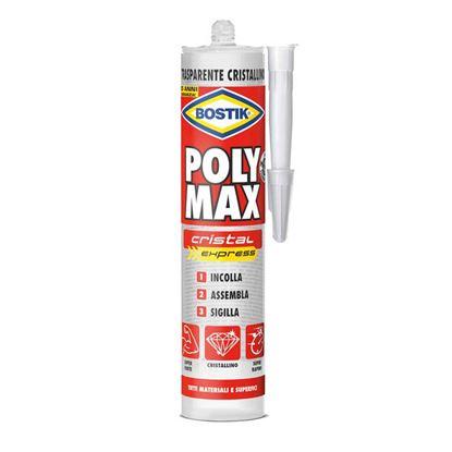 Immagine di Adesivo Bostik Poly Max, Cristal Express, 100% trasparente, cristallino, invisibile su tutte le superfici, 300 gr