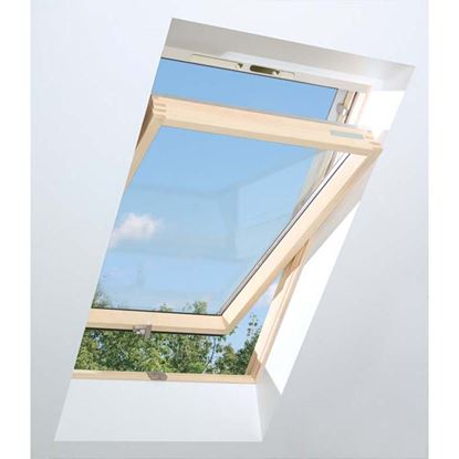 Immagine di Finestra da tetto termoventilata, in pino, apertura a bilico doppio vetro montaggio 15-90°, VB 79xh98 cm