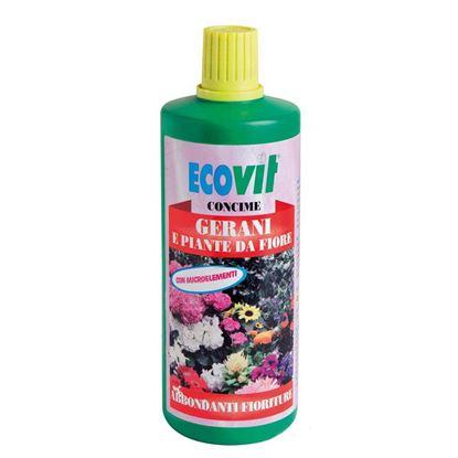 Immagine di Concime Ecovit, liquido, gerani e piante da fiore, favorisce e stimola la fioritura, 1 kg