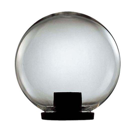 Immagine di Testa palo Globo, struttura in termoplastico nero, sfera in plastica Ø 25 cm, IP44, E27-100 W, colore fumè