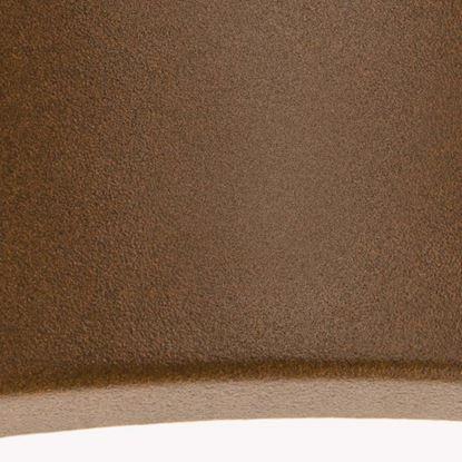 Immagine di Applique chiusa Umbe, versione mezza luna, diffusore in policarbonato opalino, IP44, E27-60 W, colore corten