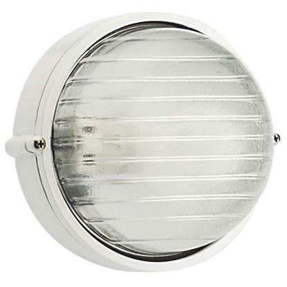 Immagine di Plafoniera tonda, struttura in alluminio pressofuso, diffusore in vetro stampato, IP54, E27-60 W, Ø 18 cm, colore bianco