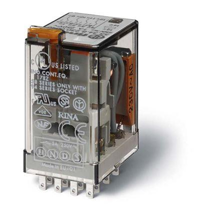 Immagine di Relè ind, 4 contat, 7 A, 24AC, da zoccolo, puls+led+ind.mecc