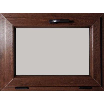 Immagine di Finestra Pvc, apertura vasistas, doppio vetro, 5 camere, colore noce scuro, 80xh45 cm