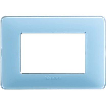 Immagine di Placca 3 posti, Matix, colore turchese