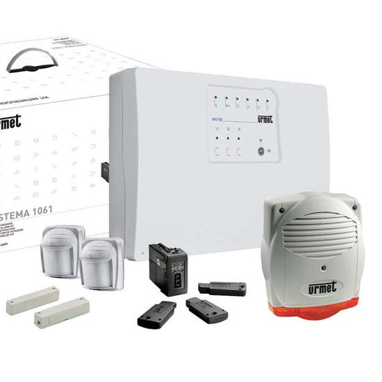 Kit antintrusione con centrale easy urmet kit chiavi con for Kit allarme filare urmet