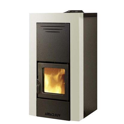 Immagine di Termostufa pellet Millenium Idro 14 kW, volume riscaldaldabile 290 m³, serbatoio 20 kg, L520xP550xH1025 mm, rivestimento acciaio, colore avorio