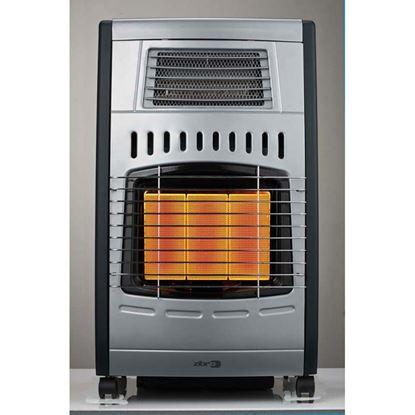 Immagine di Stufa a gas GH1062RF ventilata, gpl, 3 regolazioni di potenza 1400-2700-4200 W, 41,5x37xh71 cm col.acciaio-nero satinato