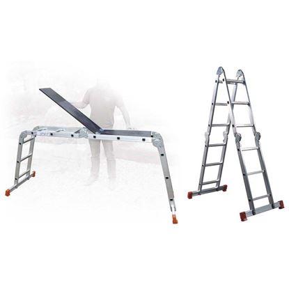 Immagine di Scala multiposizione Hobby 6 in alluminio, 6 snodi, 3x4 gradini, aperta h.3,71 mt
