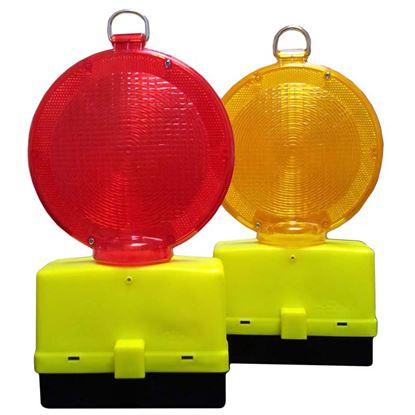 Immagine di Lampeggiatore stradale, crepuscolare bifacciale ,  2 batterie