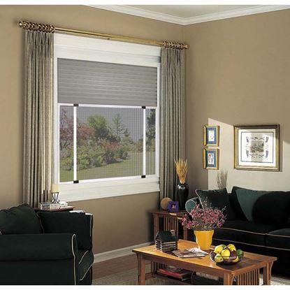Immagine di Zanzariera, con telaio alluminio, spazzolino,  colore marrone, 70x103 cm